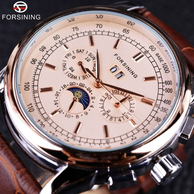Forsining Moon Phase Shanghai Movement Rose Gold Case Brown Genuine Leather Strap Mens Watches Top Brand Luxury Auotmatic Watch