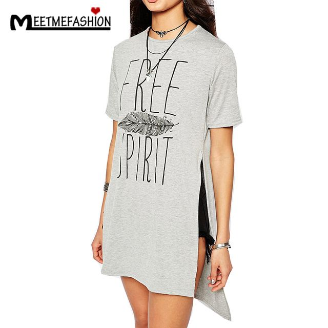 Women's Brief T Shirts Latest T-shirt Letters Print Tops Short Sleeve O Neck Front Short Back Long Top Gray
