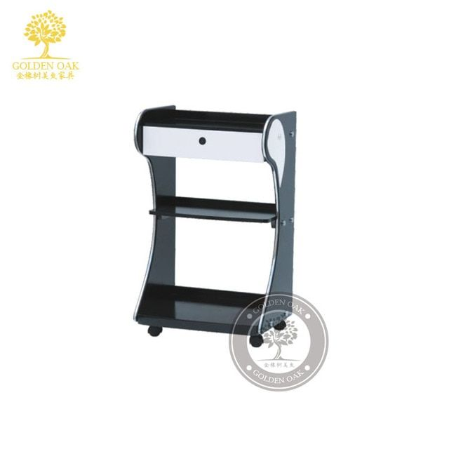 The new beauty salon shelf. Beauty salon trolley. Car hairdressing of a of van shelf