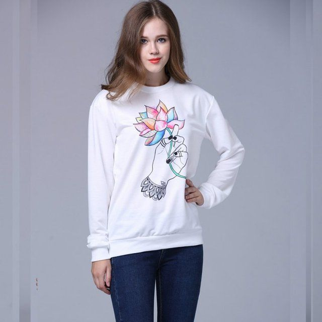 2016 Autumn Winter Women Plus Size hoodies Animal Flower printed Casual Sweatshirt Hoody Sudaderas Sweatshirt Pullovers