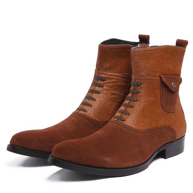 Black / brown tan mens ankle boots genuine leather casual boots mens winter outdoor shoes with horsehair