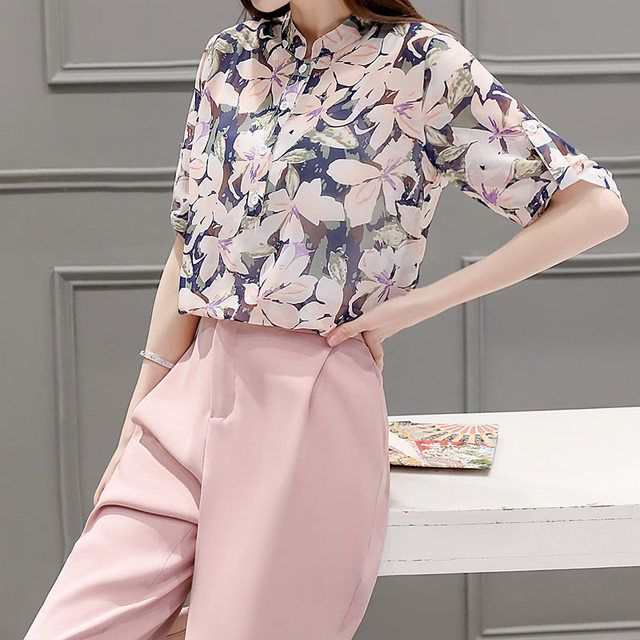 New Arrivals Women's Suits 2016 Korea Fashion Floral Chiffon Women Set Casual Slim Half Sleeve Women 2piece Pants And Tops20482