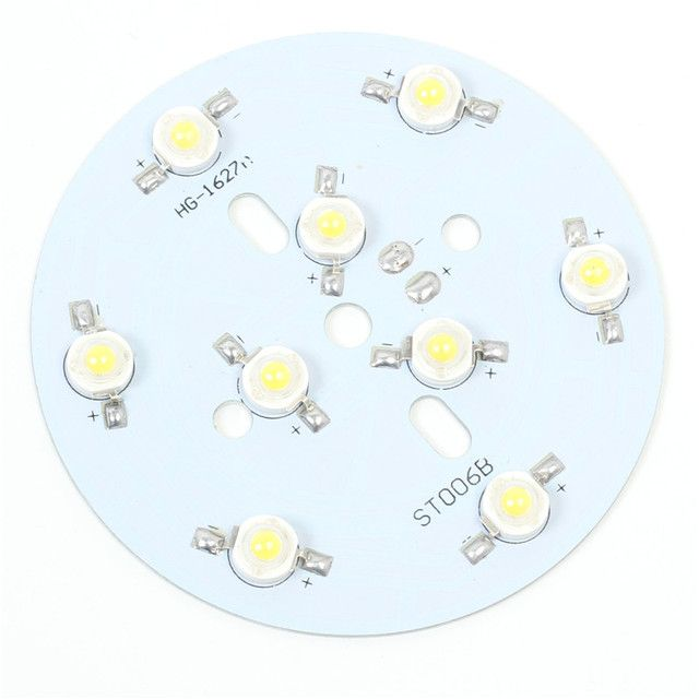 Warm White 9W High Power LED Light Board 9pcs LEDs Aluminum Plate Lamp Panel 78mm 300mA 28.8V