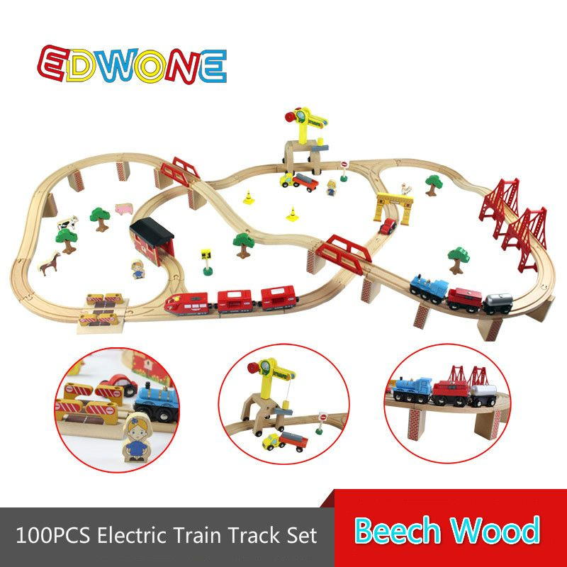 100PCS  Electric Train Track Set Wooden Railway Track EDWONE Fit For Thomas Train and Brio Gifts For Kids