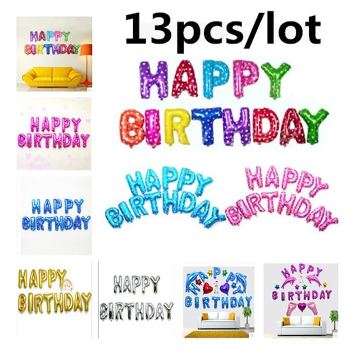 13pcs/lot Happy Birthday balloons Decoration Foil Party balloon for child Baby kids air Baloons Alphabet Aluminum Letter Ballons