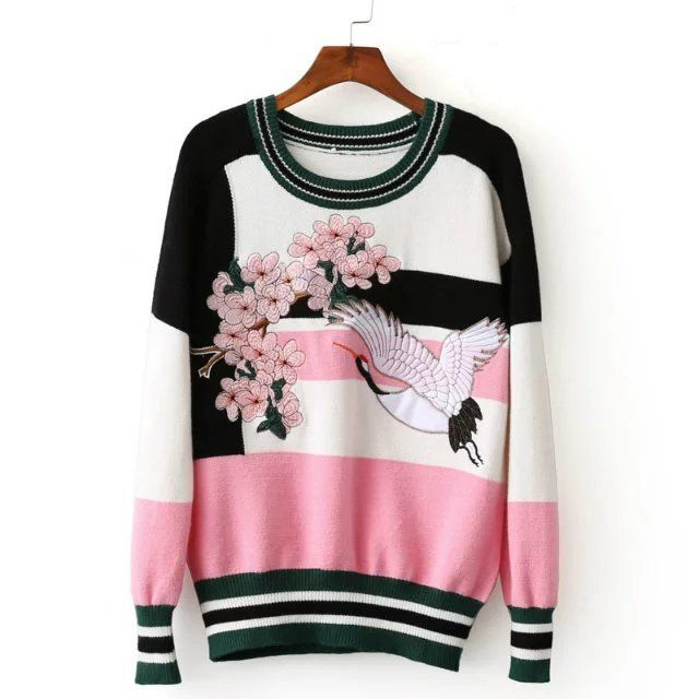 Embroidery Flower Patchwork Long Pullover Sweater shirt Sweater Plum Blossom Bird Embroidery O Neck Pullover Sweater 2 Colors