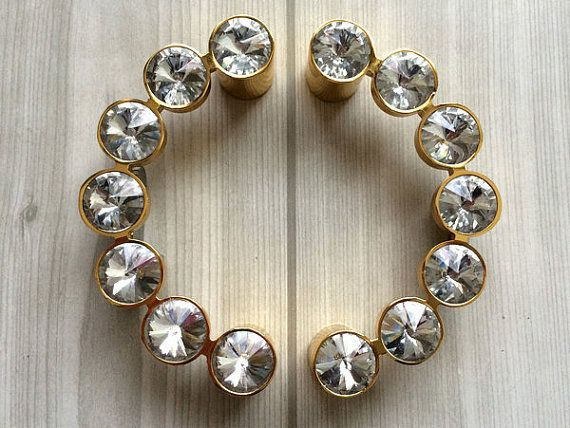 "3.75"" Glass Crystal Look Drawer Pull Handles Dresser Pulls Kitchen Cabinet Handle Rhinestone Silver Gold Semicircular Semicircle"