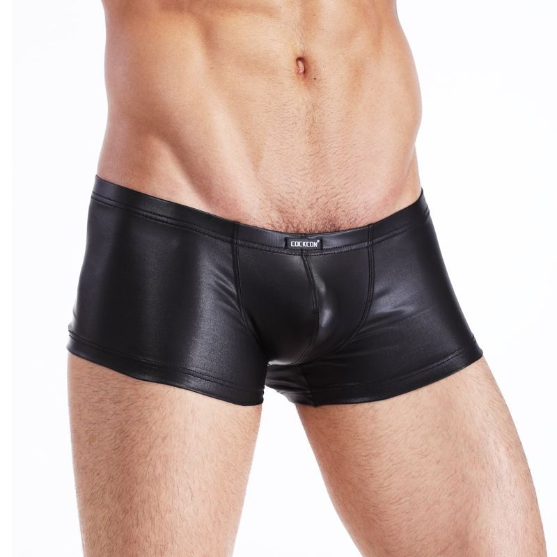 New Men Boxers Pu Leather Shorts Sexy Tight Elastic Men Sexy Underwear Faux Leather Men Boxers Shorts Best Factory Price 5z