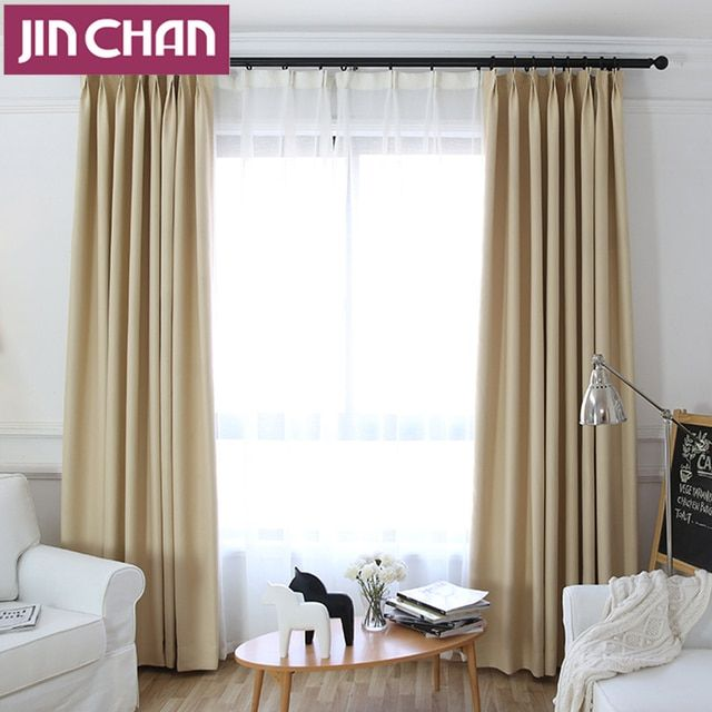 Solid Thicken Polyester Modern Blackout Window Curtains Drapes Shades for Living Room Bedroom, grommet top,hook,rod pocket