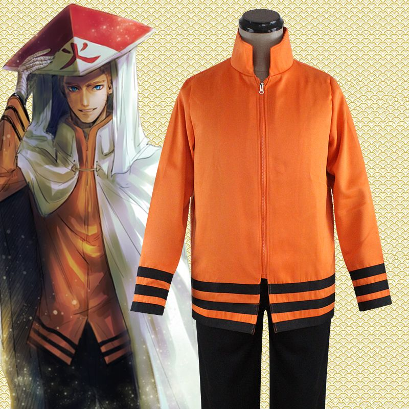 Anime Naruto Cosplay Costumes Seventh Hokage Uzumaki Naruto Cosplay Top/Coat/Jacket+Pants New Free Shipping