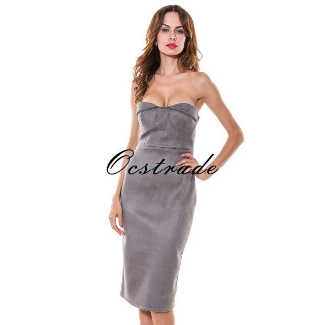 Free Shipping!!!OCS Exclusive New! Hot Sale Women Dress 2016 New Fashion Grey Suedette Sexy Strapless Bodycon Dress