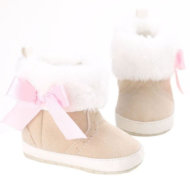 2017 Infant Girl Bowknot Fleece Snow Boots Toddler Warm Boots Princess Crib Shoes Baby Moccasins Shoes