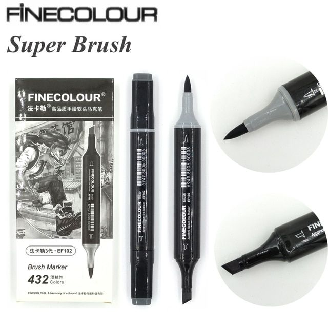 Finecolour EF102 Super Brush Double-Ended Alcohol Based Ink Neutral Gray Tones Sketch Art Marker