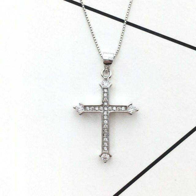 Authentic 925 Sterling Silver Cross Necklaces Pendant Unisex sterling-silver-jewelry Fashion Statement Necklace For Women