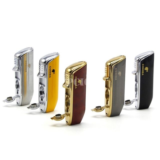 2017 HOT COHIBA Gas Windproof 3 Torch Jet Flame Cigarette Cigar Lighter Snake Mouth Shape Butane Pocket Size