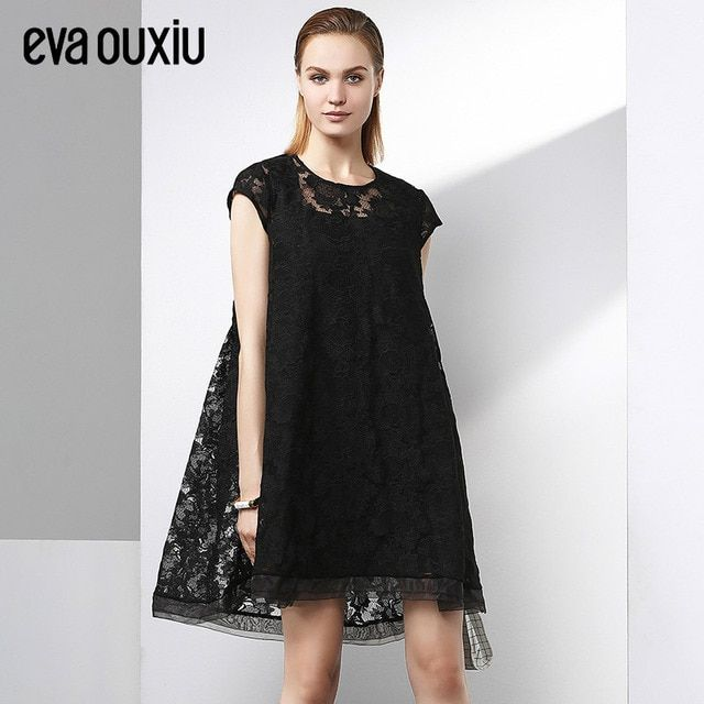 Evaouxiu Summer Autumn Women Elegant Lace Short-sleeve Dress Fairy Loose A-line Dress
