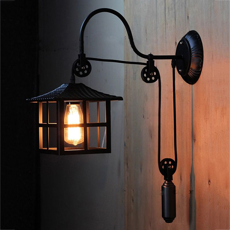 Hallway pulley Wall lamp Kitchen lighting vintage corridor bedroom bedside wall sconce mirror E27 wall fixtures porch lighting