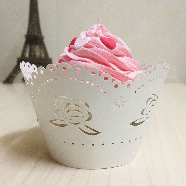 WondLove STory 25pcs Rose Laser Cut Cup Cake Wrapper Wedding Paper Cake Art Paper Baby Party Shower And Wedding Party Supplies