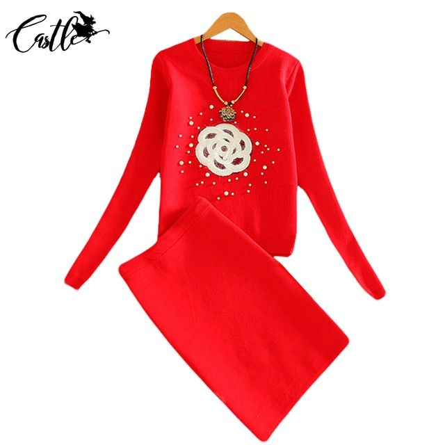 2017 New Autumn Women Knitting Sets Lady Office Knitted Sweater Tops and High Waist Pencil Midi Skirt Elegant 2 Pieces Tracksuit