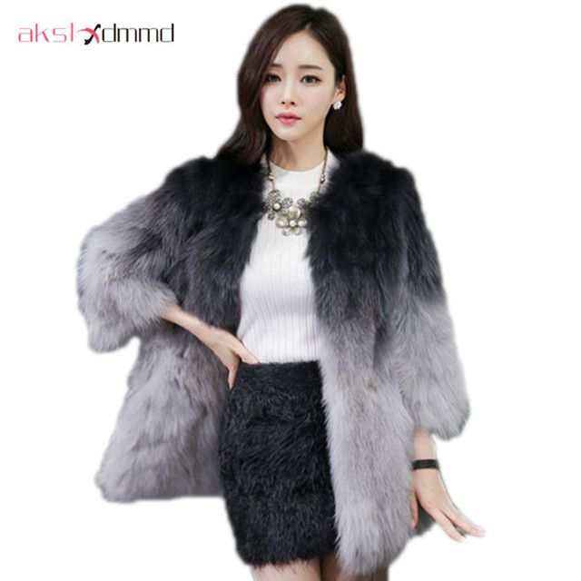 High End Real Fur Jacket Female 2019 New Winter Women Fox Fur Gradient Mid-long Coat Fashion Fur Coat Casaco De Pele LH582