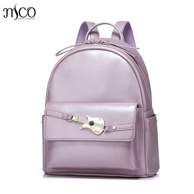 Women PU Leather Backpack Fashion Guitar Female Elegant Daily Box Shoulder Bags Ladies Daypack Girls Rivets Travel Rucksack