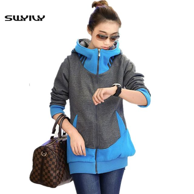 2017 New Casual Sweatshirts Large Size 3XL Long Autumn Winter Plus Velvet Women Hoody Zipper Thick