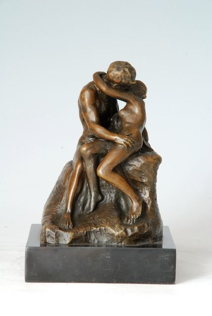 Arts Crafts Copper Europe small size bronze statue nude kissing lover figurines vintage wedding decoration Valentine's day gifts