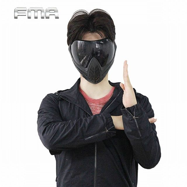 FMA Anti-fog Dustproof Protector Goggles Full Face Mask Outdoor Airsoft Safety  F1 Paintball Goggles With Black Lens
