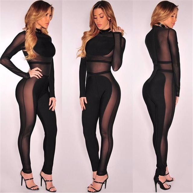 Black See Through Long Sleeves Jumpsuits 2016 New Fashion Women Full Length Night Club Wear Sexy Jumpsuits