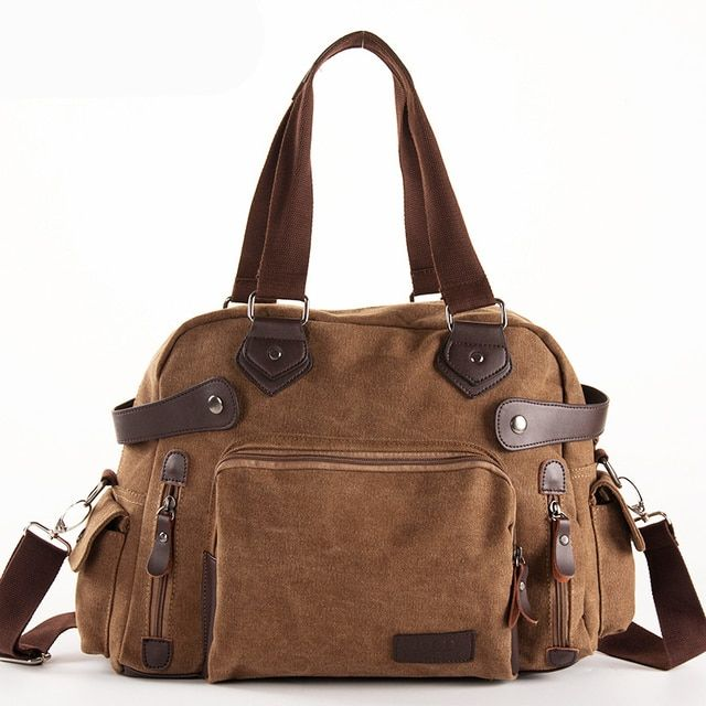 Solid Color Black Khaki Casual Vintage Multifunction Trunk Men's Canvas Crossbody Travel Bag Men Shoulder Bag Messenger Handbag