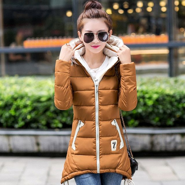 2016 new fashion women winter coat and parka long section thick coat large size women's Slim padded jacket