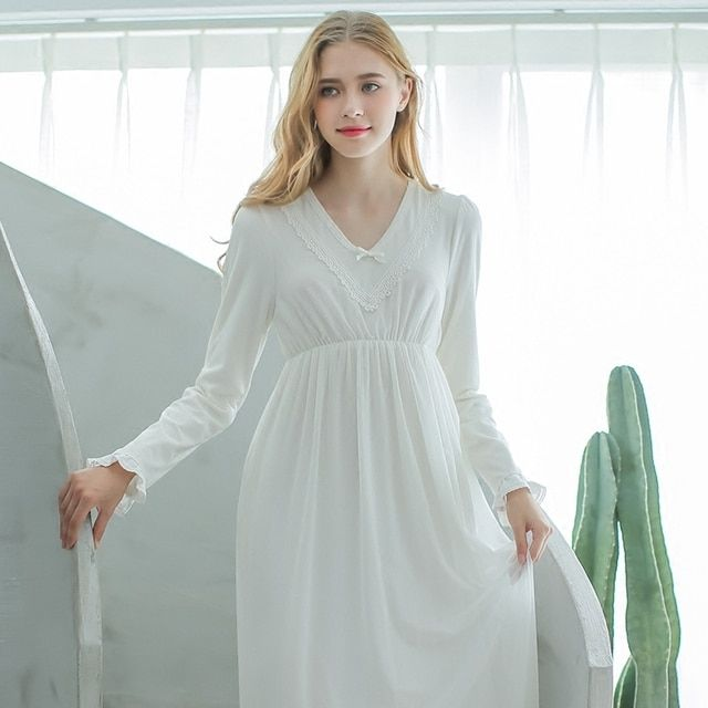 Cotton Nightgown Nightwear Women's Long Nightdress Simple style Sleepwear Long sleeves Nightshirt Women's sleepwear as outerwear