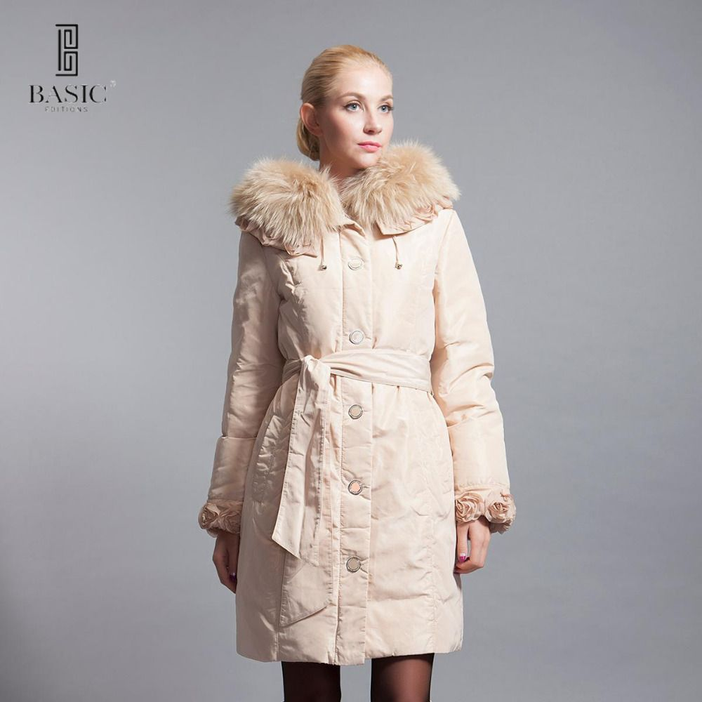 BASIC-EDITIONS winter Slim Hooded fur collar fur cuffs flowers in long down jacket style - 10W-04D