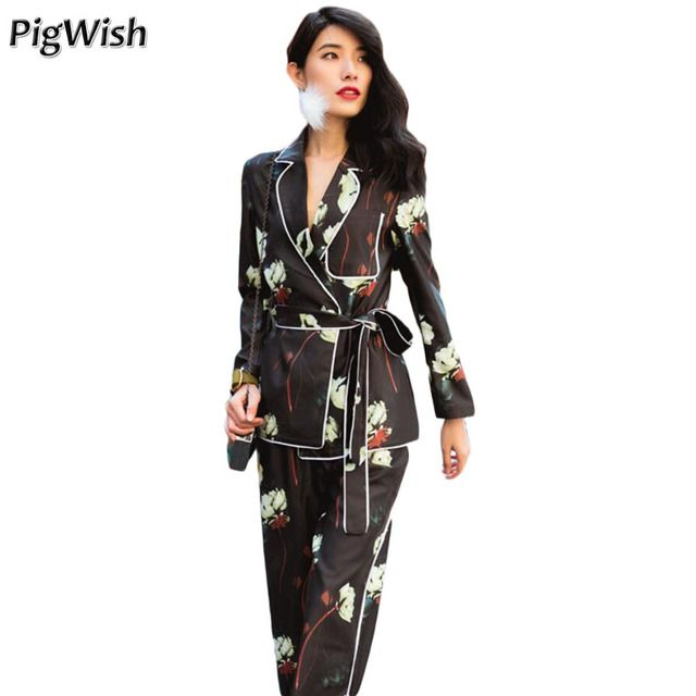 PigWish 2017 Pajamas Style Women's Long Sleeve Blazer With Trousers Floral Print Female Business Suit 2 Piece Set Women