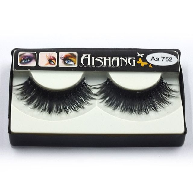 As752 1Pair Of Women Makeup Beauty Thick 3D False Eyelashes popular messy nature Eye Lashes Long Black Handmade lashes Extension