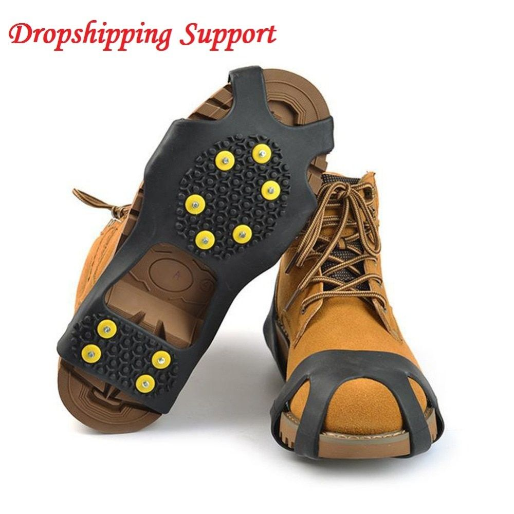 4 Size 10 Studs Shoe Spiked Grips Ice Snow Shoe Spiked Grips Cleats Crampons Winter Climbing Camping Anti Slip Shoes Cover