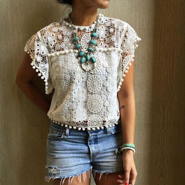 White Blouse Lace Chiffon Sleeveless Summer Women Tops 2016 New Fashion Korean Hollow Out Ladies Shirt Office Female Clothing