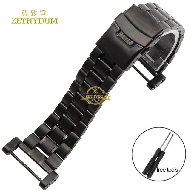 Stainless steel Watchband solid metal watch bracelet strap Double insurance buckle silver black width 24mm for SUUNTO CORE tools
