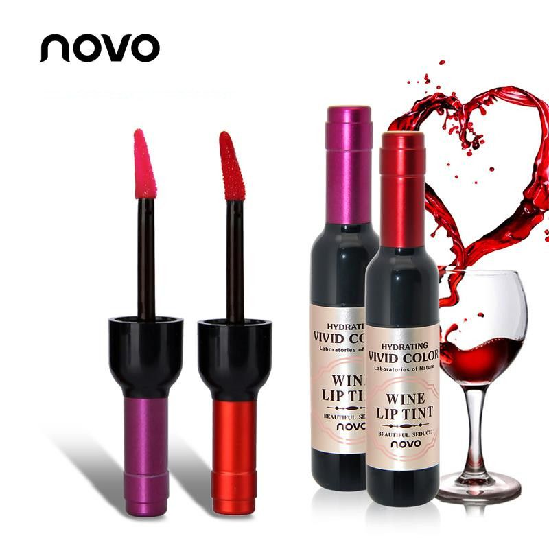 NOVO Makeup 5ml Red Wine Matte Lip Tint Lip Gloss 6 Colors Waterproof Lipgloss Liquid Lipstick Set Lip Stick Palette
