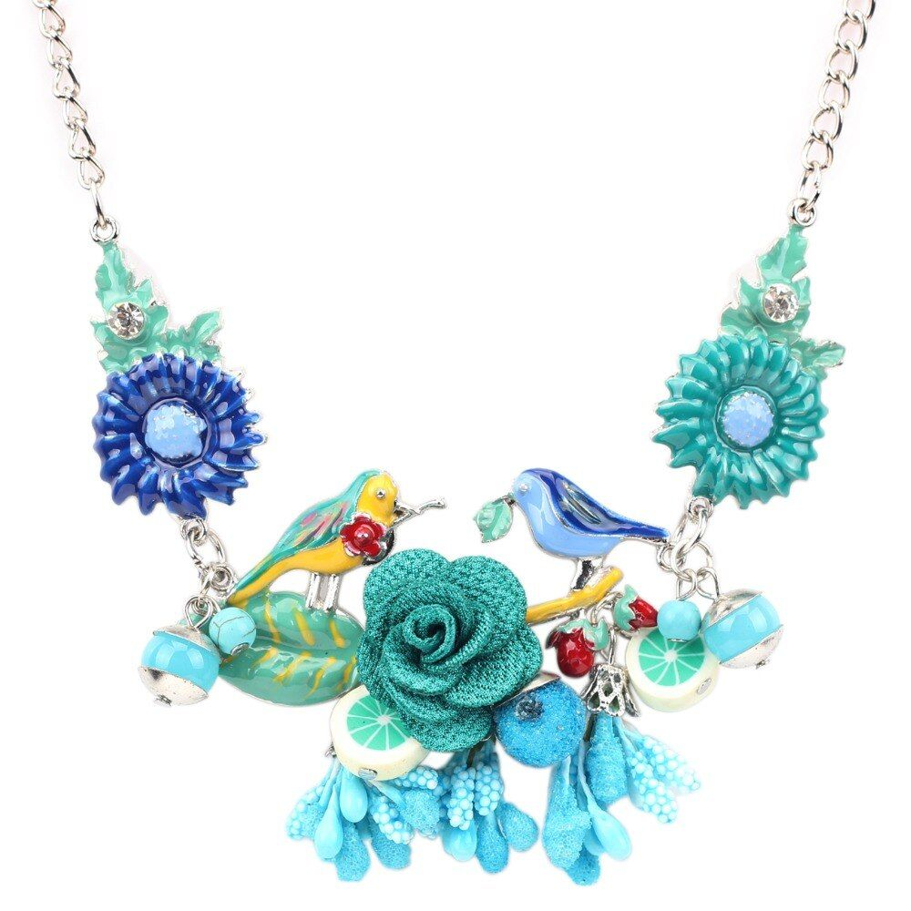 Bonsny Statement Choker Enamel Bird Flower Necklace Alloy Long Chain Pendants 2016 New Jewelry For Women Charm Accessories