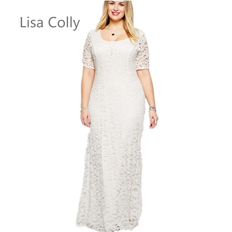Lisa Colly Sale Special Offer Limited Natural Vintage Robe  Spring Dresses Fashion Vestid XXL-9XL Women Lace Dress