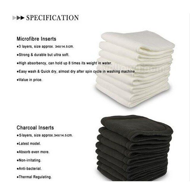 2017 New Absorbent microfiber inserts (10pcs) +  Bamboo Diaper Charcoal 5 layers Inserts pads (10 pcs)