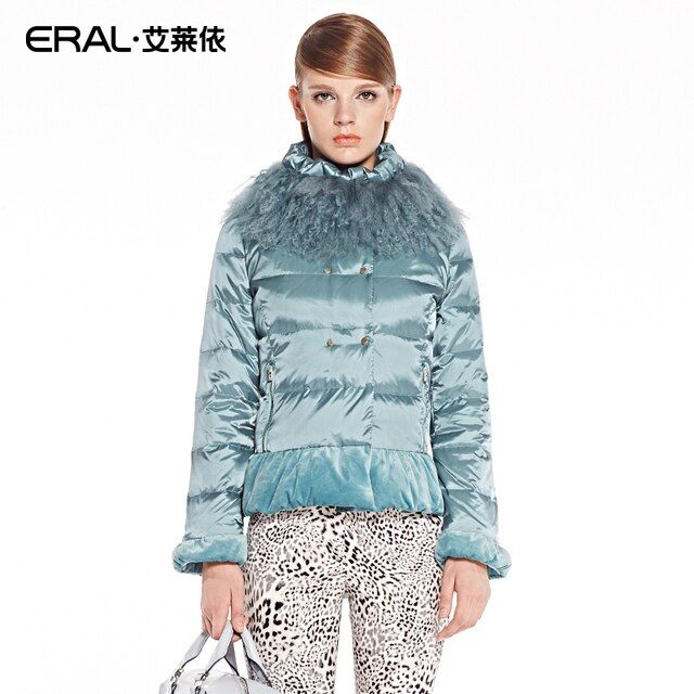 ERAL 2016 New Arrival Winter Coat Women's Slim Elegant Velour Patchwork Short Down Jacket with Mongolian Fur Collar ERAL2030C