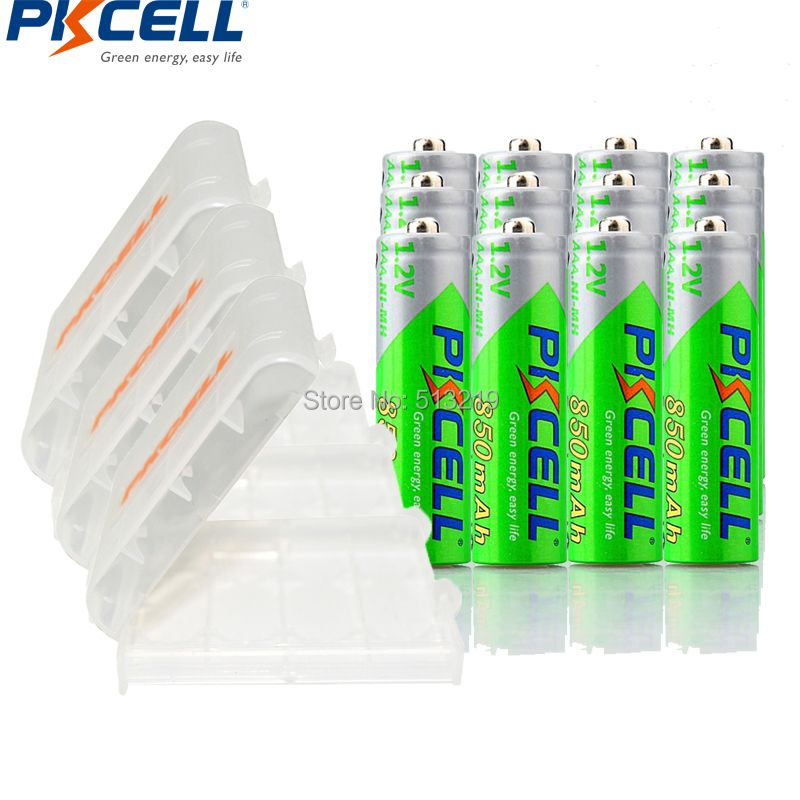 12pcs PKCELL AAA Battery 1.2V 850mah NI-MH AAA Rechargeable batteries LSD 3A accumulator and 3Pcs AA/AAA Battery storage Holder