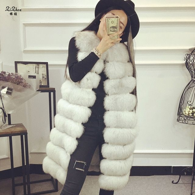 Genuine Leather Natural Fox Fur Full Pelt Long Plus Size Winter Fur Vest For Women Warm Gilet  Fashion Waistcoat 14F0730-3