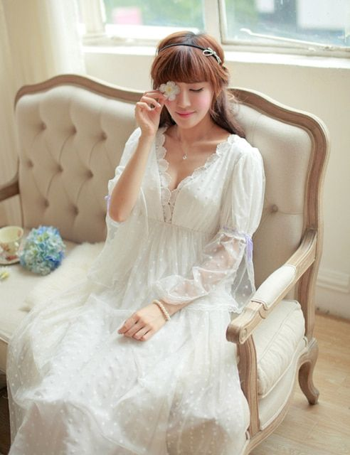 Noble Sleepwear Lace Dress Gown Elegant Nightgown Princess Dress Dress Vintage Lace Gown Bride Bridesmaid Nightgow High Quality
