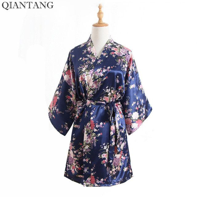 New Arrival Chinese Women's Faux Silk Kimono Mini Robe Bath Gown Navy Blue Summer Yukata Nightgown Pijama Mujer One Size Mys007