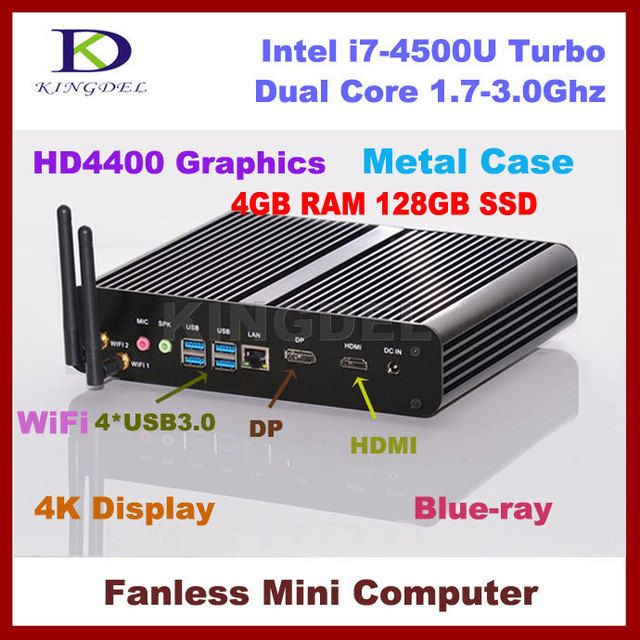 Mini PC i7 Smart Computer Intel Core i7-4500U(4M Cache, up to 3.00 GHz) 4G DDR3 Memory 128GB SSD Storage DP+HDMI dual display