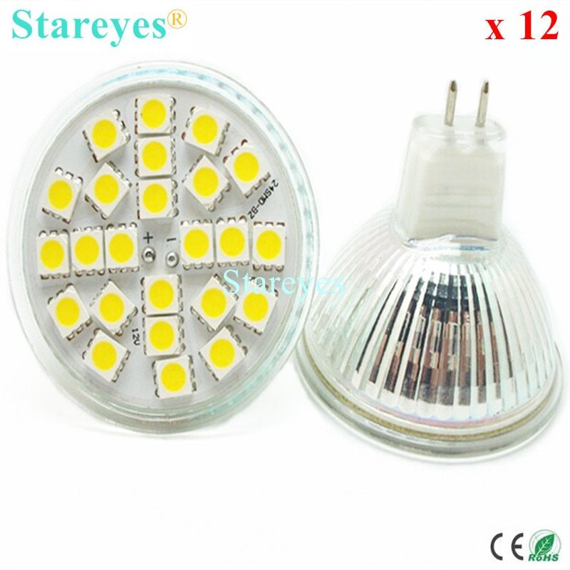 12 pcs SMD 5050 24 LED 5W MR16 DC12V LED Spotlight lamp light downlight bulb droplight LED lamp lighting