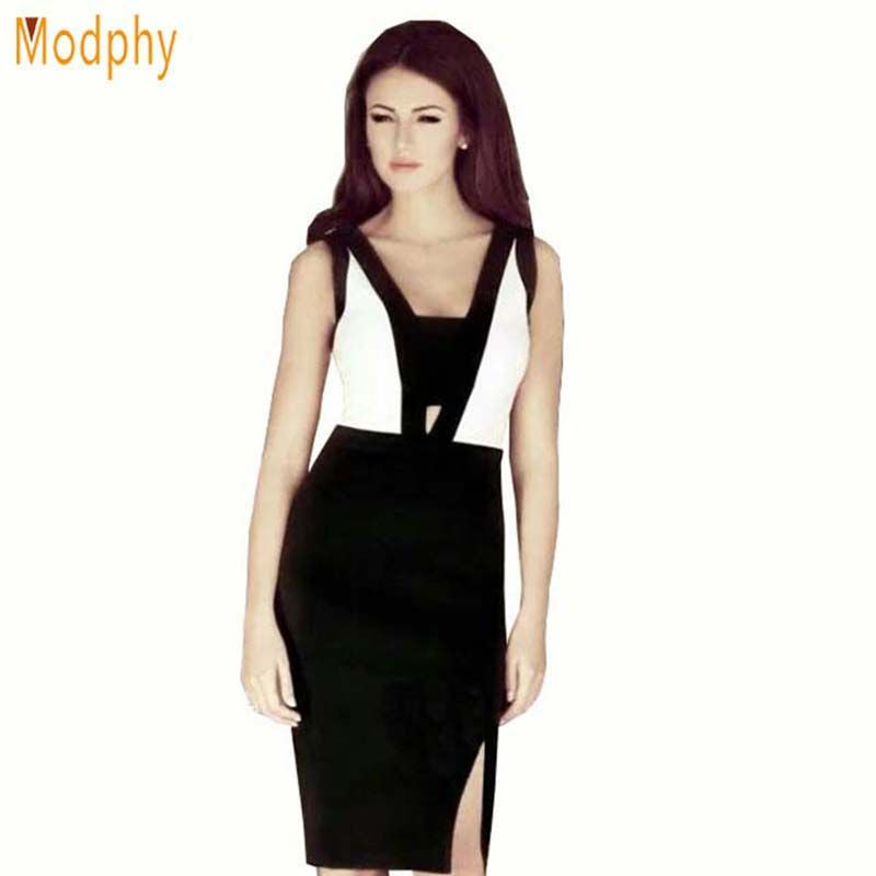 2018 New Style Women Bandage dress Black White Fashion Design Sleeveless Open Back Dresses for party prom drop shipping HL555